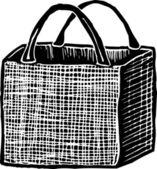 Ilustración de xilografía de bolsa deplásticogravür çizimi yeniden kullanılabilir bakkal çantası — Stok Vektör