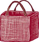 Holzschnitt-abbildung der wiederverwendbaren grocery bag — Stockvektor