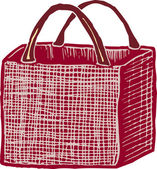 Woodcut Illustration of Reusable Grocery Bag — Vettoriale Stock