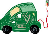 Woodcut Illustration of Electric Vehicle — ストックベクタ