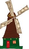 Woodcut Illustration of Windmill — Stock Vector