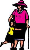 Woodcut Illustration of Grandma and Granddaughter — Stock Vector