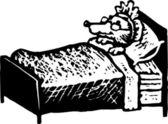 Woodcut Illustration of Big Bad Wolf as Grandma — Stock Vector