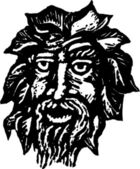 Woodcut Illustration of Garden Sculpture — Stock Vector