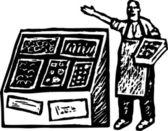 Drzeworyt ilustracja produktów sklep spożywczy — Wektor stockowy