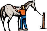 Illustrazione di xilografia di governare il cavallo di donna — Vettoriale Stock