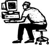 Holzschnitt-abbildung von hacker — Stockvektor