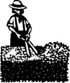 Woodcut Illustration of Man or Woman Clipping Hedge — Stock Vector