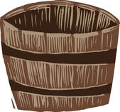 Woodcut Illustration of Half Barrel Planter — Stock Vector