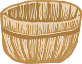 Woodcut Illustration of Bushel Basket — Stock Vector
