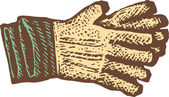 Woodcut Illustration of Gardening Gloves — Stock Vector