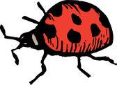 Uğur böceği gravür çizimi — Stok Vektör
