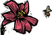Woodcut Illustration of Bee Pollenating Flower — Stock Vector
