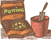 Woodcut Illustration of Potting Soil, Pot and Spade — Stock Vector