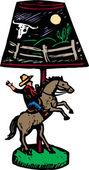 Träsnitt illustration av retro cowboy skrivbordslampa — Stockvektor