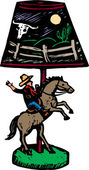 レトロなカウボーイのデスクランプの木版画イラスト — ストックベクタ