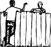 Woodcut Illustration of Men Neighbors Talking Over Fence — Stock Vector