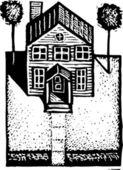 Черно-белые векторные иллюстрации жилого дома — Cтоковый вектор
