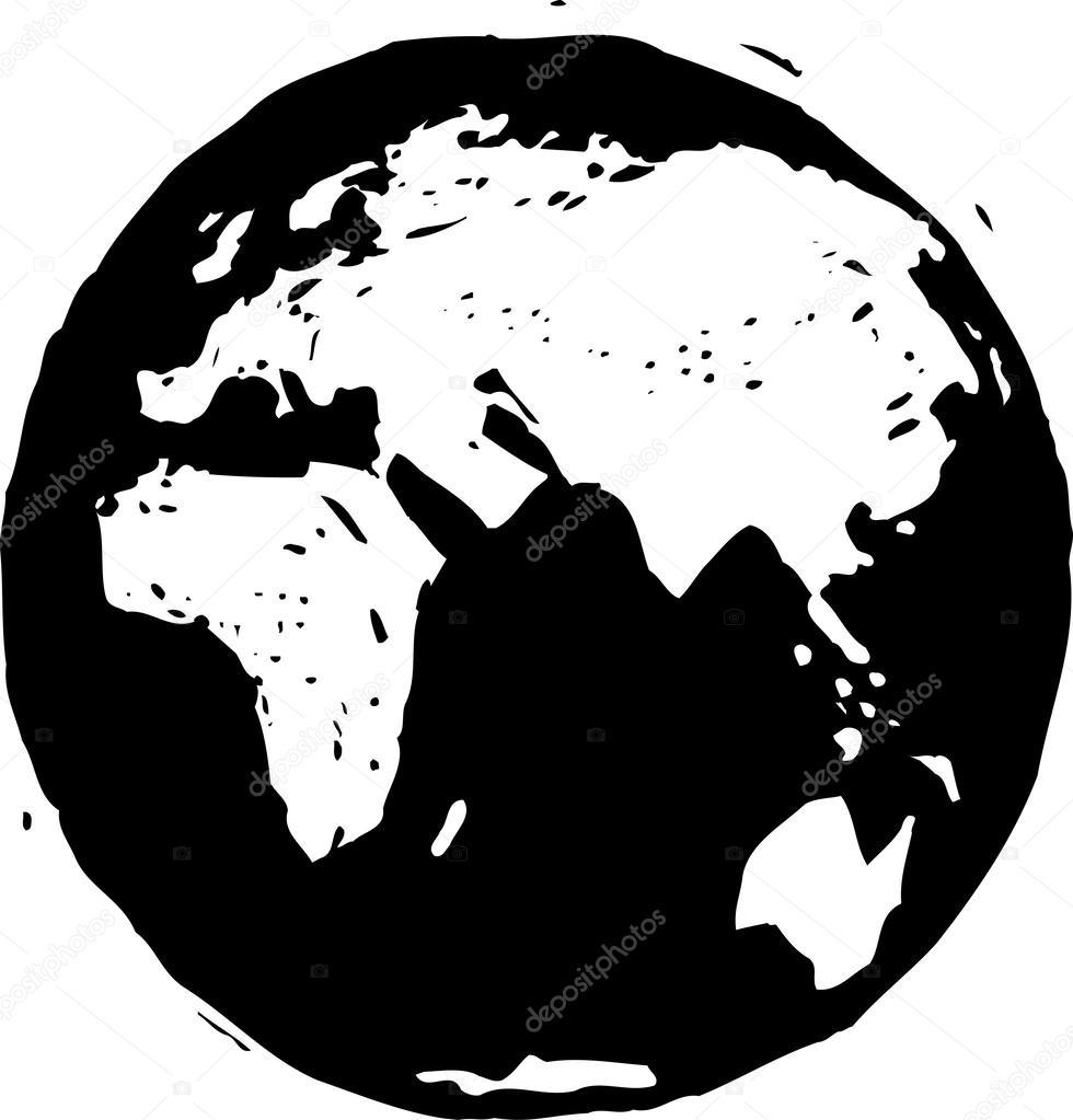 illustration vectorielle noir et blanc du globe terrestre. Black Bedroom Furniture Sets. Home Design Ideas