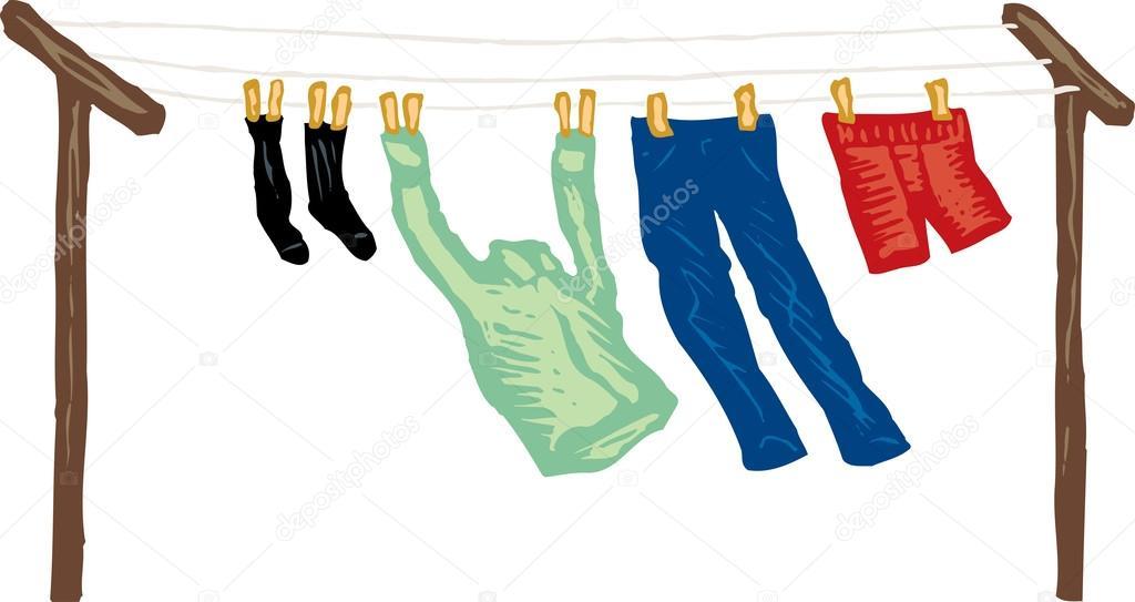 Ilustraci n de xilograf a de secado en tendedero de ropa - Tendedero de ropa electrico ...