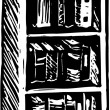 Woodcut Illustration of Bookshelf — Vetorial Stock #29844283