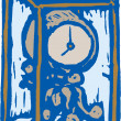 Woodcut Illustration of Clock — Stock Vector
