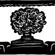 Person with Big Hair in Movie Theater — 图库矢量图片
