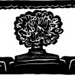 Person with Big Hair in Movie Theater — ストックベクタ