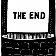 Illustration of Movie Screen Showing The End — Stock Vector