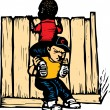 Boy Boosting Another Boy onto Fence — Imagen vectorial