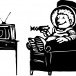 Boy in Spacesuit Watching TV — Imagen vectorial