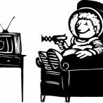 テレビを見ている宇宙服の少年 — ストックベクタ