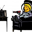 Stock Vector: Boy in Spacesuit Watching TV