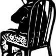 Woodcut Illustration of Boy Sitting in Chair for Timeout — Stock Vector