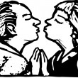 Woodcut Illustration of Senior Couple Kissing — Vetorial Stock #29847661
