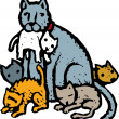 Woodcut Illustration of Mother Cat with Kittens — Stock Vector