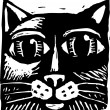 Woodcut illustration of Cat — Stock Vector