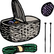 Woodcut Illustration of Knitting — Imagen vectorial