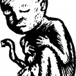 Woodcut Illustration of Human Fetus — Stok Vektör