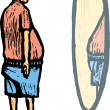 Woodcut Illustration of Man Looking in Mirror at His Middle Age Spread — Image vectorielle
