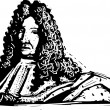 Stock Vector: Woodcut Illustration of Louis XIV
