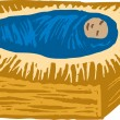 Woodcut Illustration of Christ in the Manger — Imagen vectorial