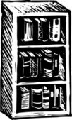 Woodcut Illustration of Bookshelf — Vetorial Stock