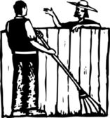 Neighbors Talking Over Fence — Stock Vector
