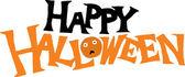 Houtsnede illustratie van happy halloween typeontwerp — Stockvector