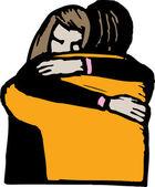 Man and Woman Hugging — Stock Vector
