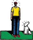 Förvånad man och hund — Stockvektor