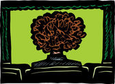 Person with Big Hair in Movie Theater — Stock Vector