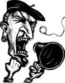 Dyrektor z megafon krzyczy cięcia — Wektor stockowy