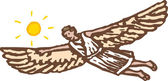 Woodcut Illustration of Icarus — Stock Vector